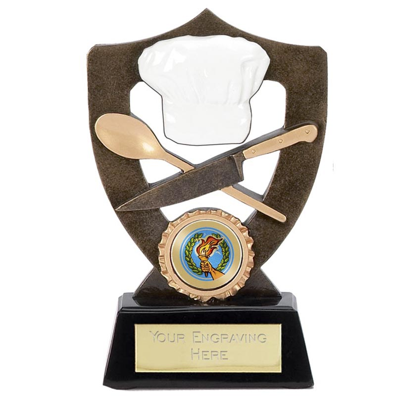 7 Inch Chef Hat And Knives Catering Award