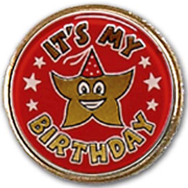 1 Inch Red Its my Birthday Economy Badge