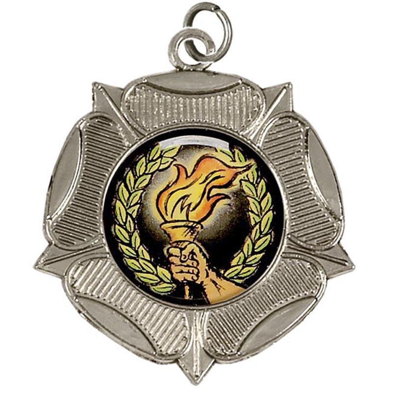 50mm Silver Tudor Rose Medal