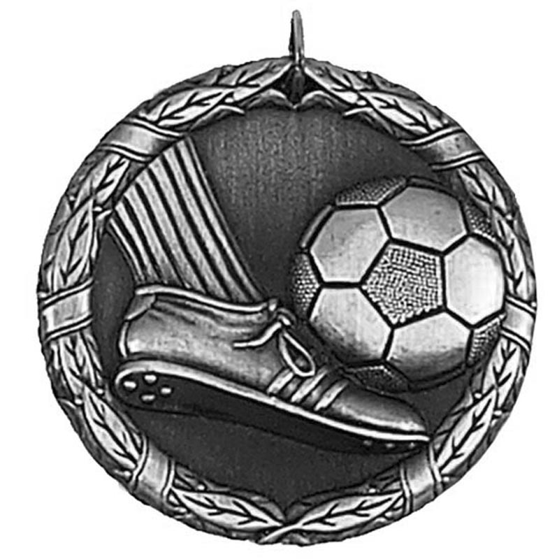 50mm Silver Laurel Football Medal