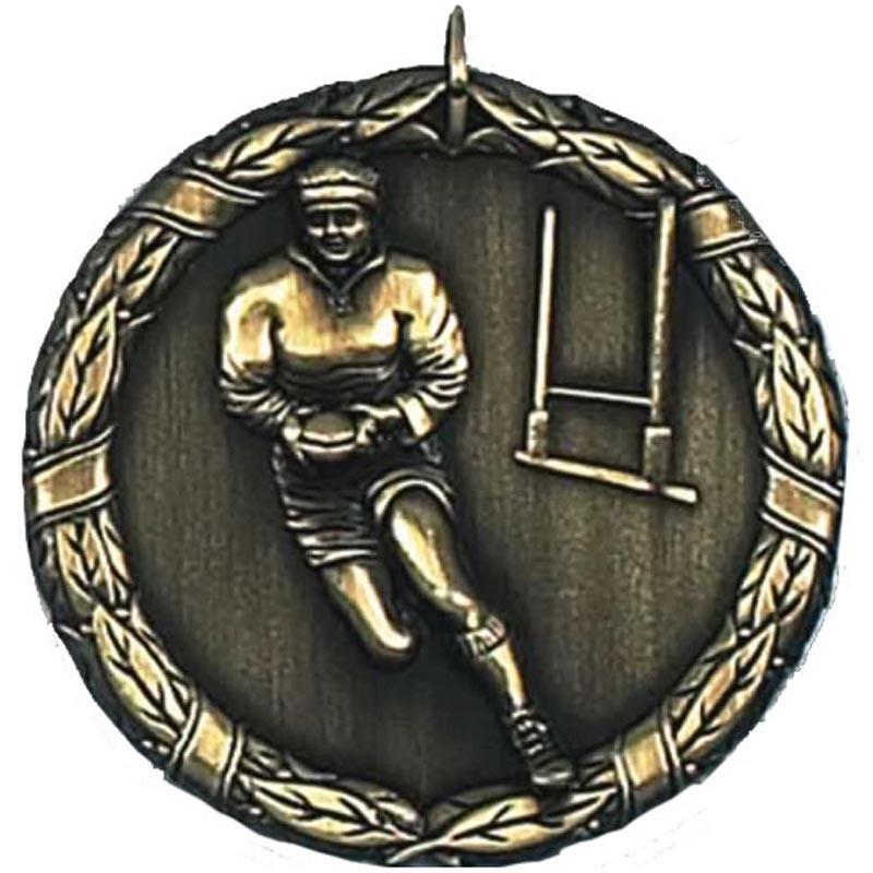 50mm Gold Laurel Rugby Medal