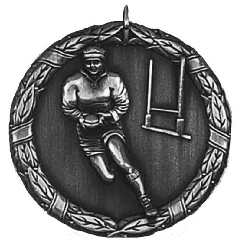 50mm Silver Laurel Rugby Medal
