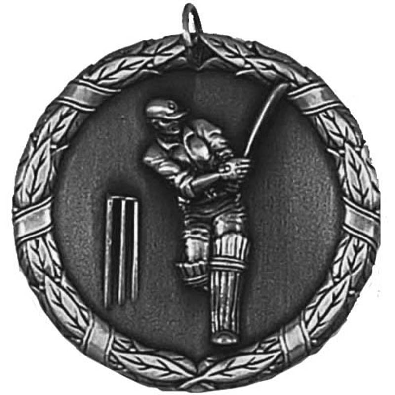 50mm Silver Laurel Cricket Medal