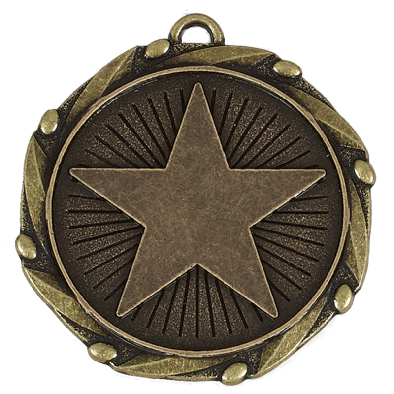 45mm Bronze Large Star Star Spiral Medal