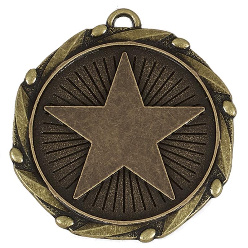 Bronze Large Star Star Spiral Medal