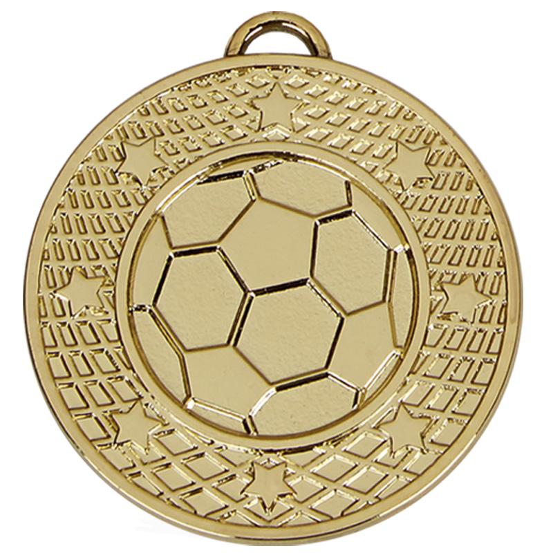 50mm Gold Detailed Border & Ball Football Target Medal