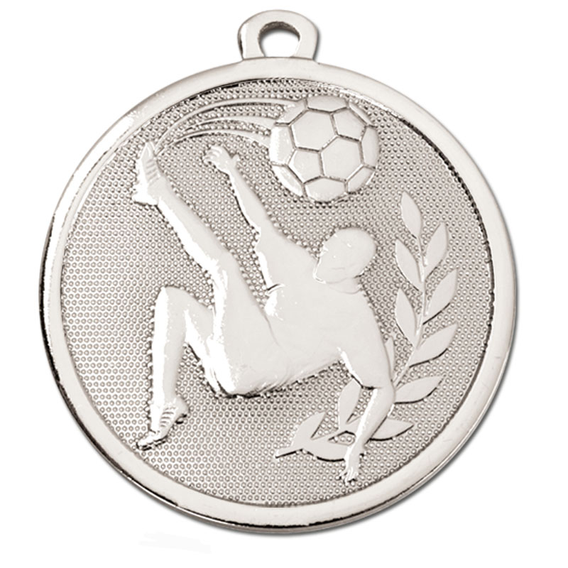 45mm Silver overhead Kick Football Galaxy Medal