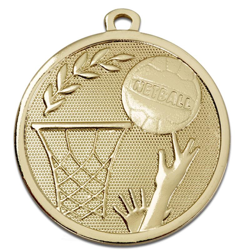 45mm Gold Ball & Net Netball Galaxy Medal