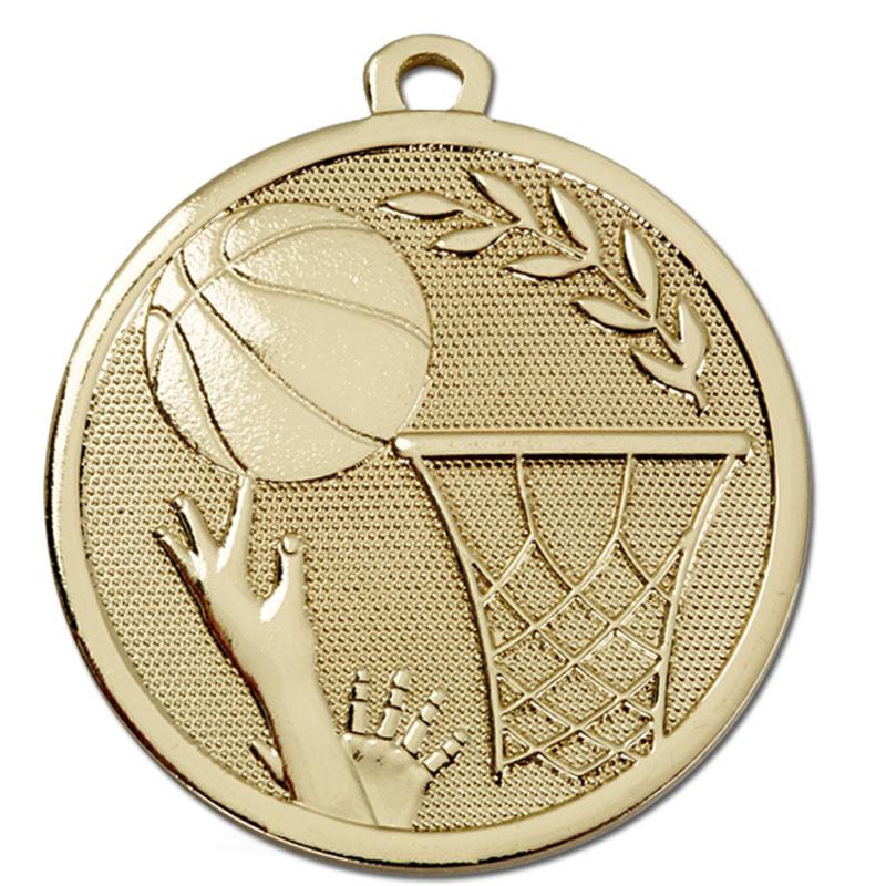 45mm Gold Ball & Net Basketball Galaxy Medal