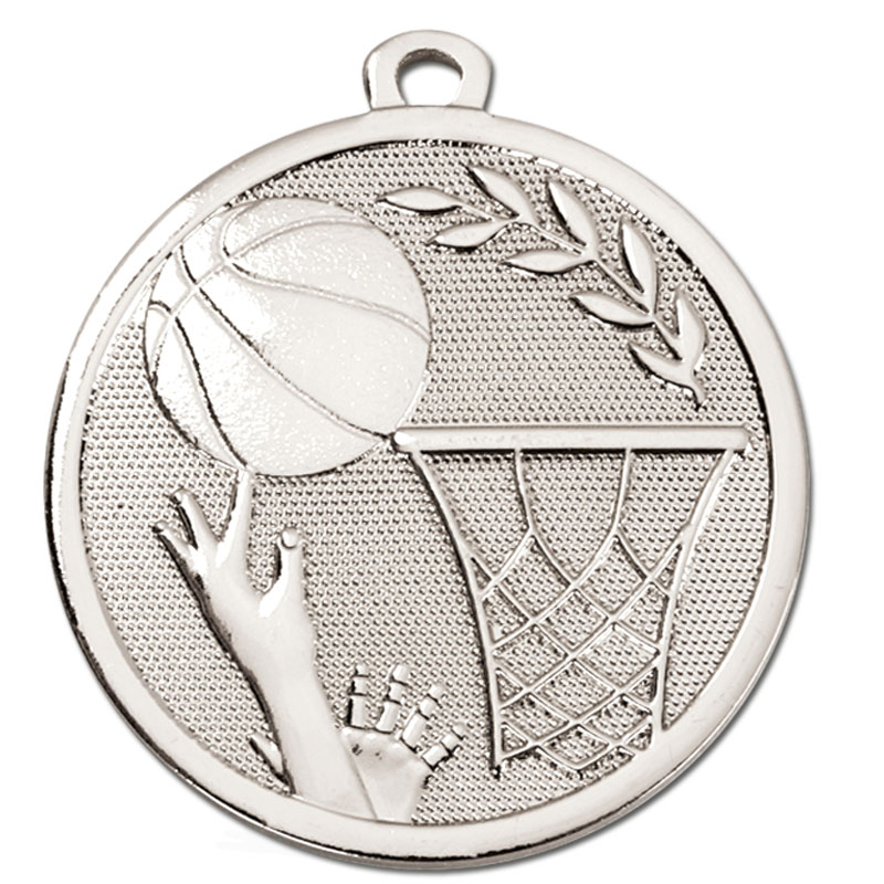 45mm Silver Ball & Net Basketball Galaxy Medal