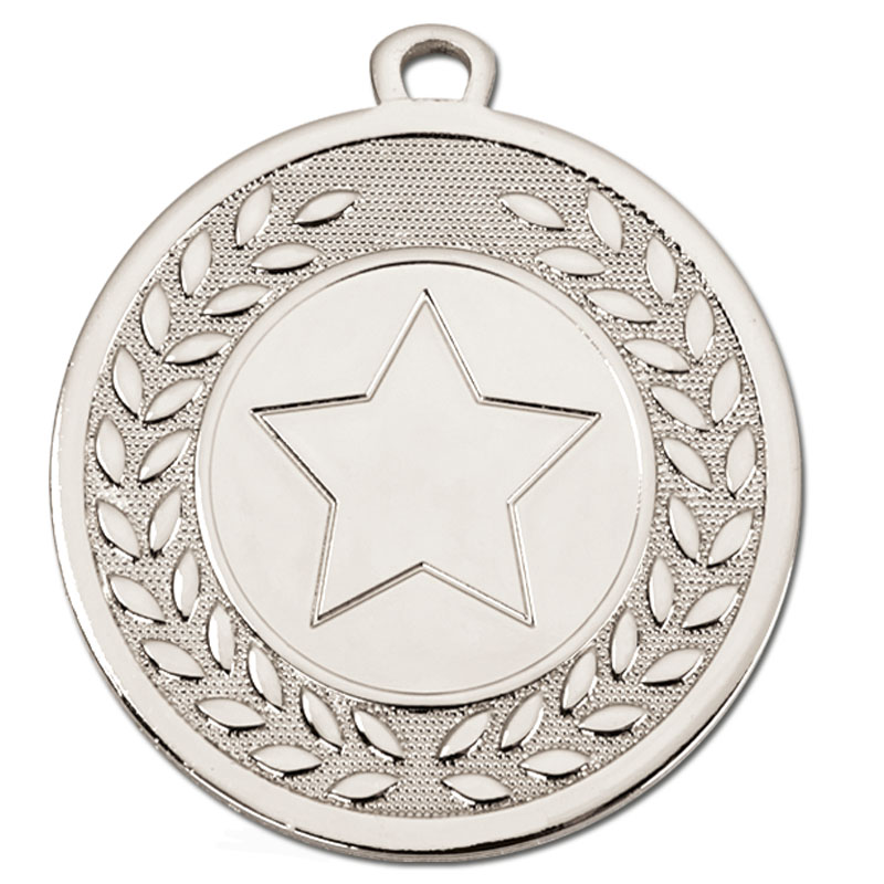 45mm Silver Wreath Star Galaxy Medal