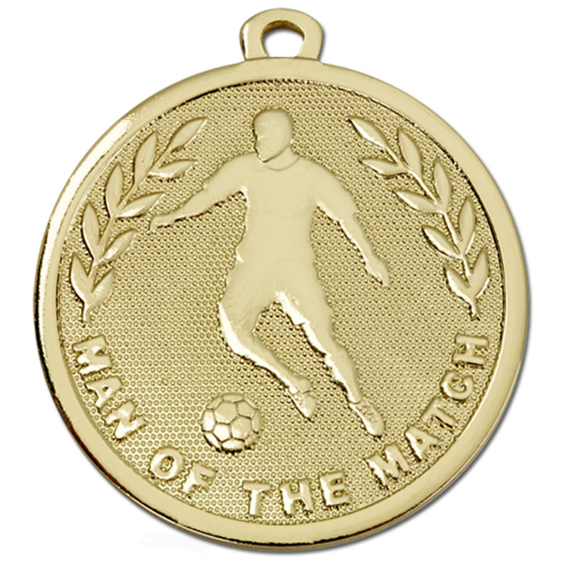 45mm Gold Soccer Man of the Match Football Galaxy Medal