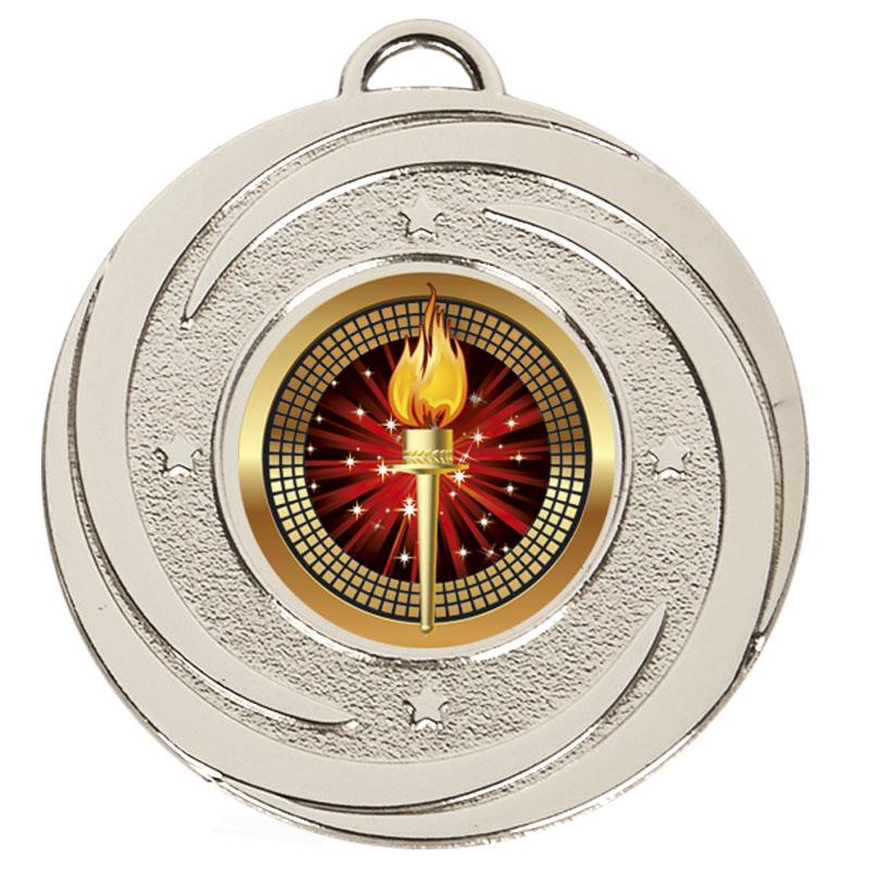 50mm Silver Centre Holder Stars Target Medal