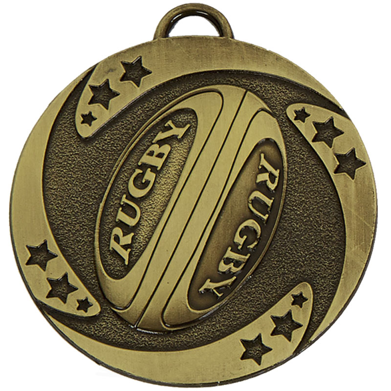 50mm Bronze Detailed Ball Rugby Target Medal