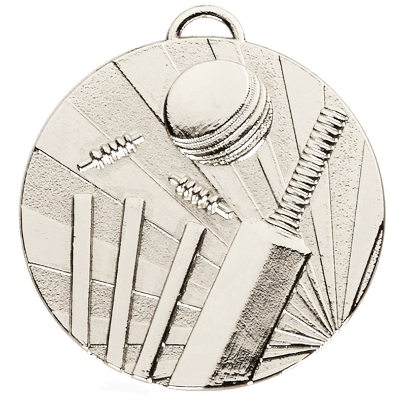 50mm Silver Bat & Wicket Cricket Target Medal