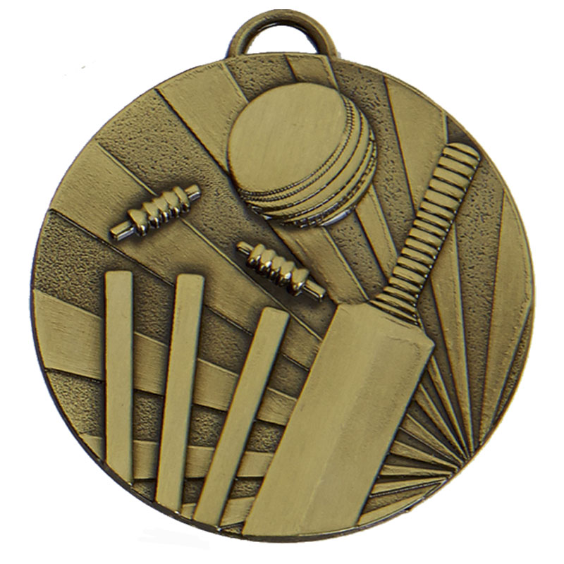 50mm Bronze Bat & Wicket Cricket Target Medal