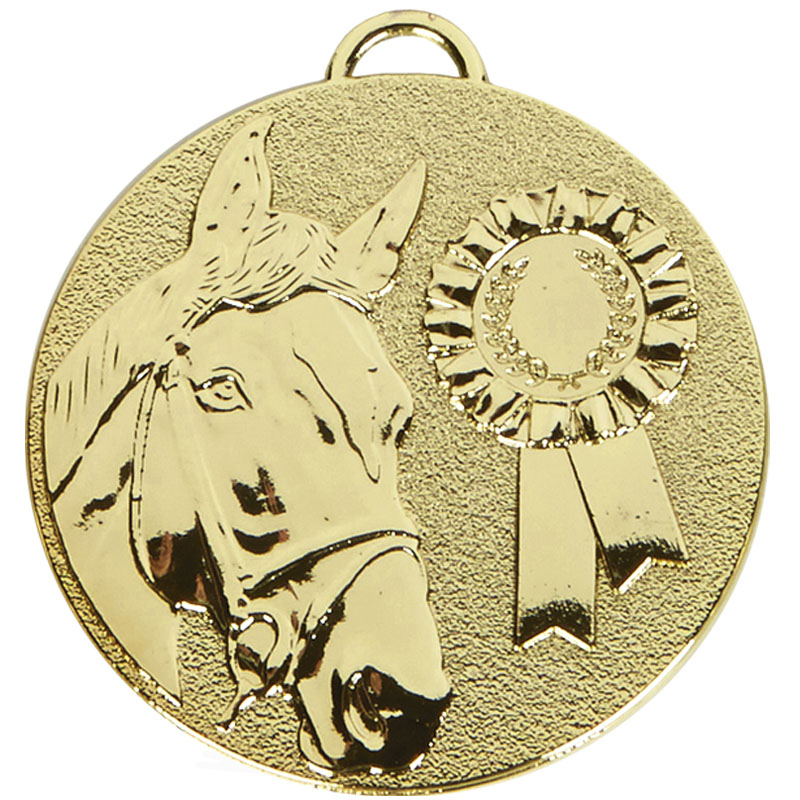 50mm Gold Horse & Rosette Horse Riding Target Medal