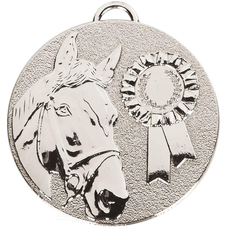 Silver Horse & Rosette Horse Riding Target Medal