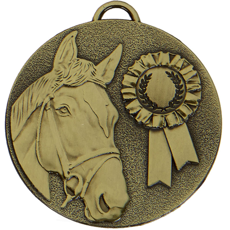 50mm Bronze Horse & Rosette Horse Riding Target Medal