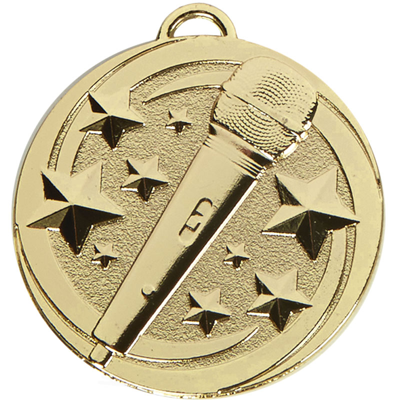 50mm Gold Microphone Star Music Target Medal