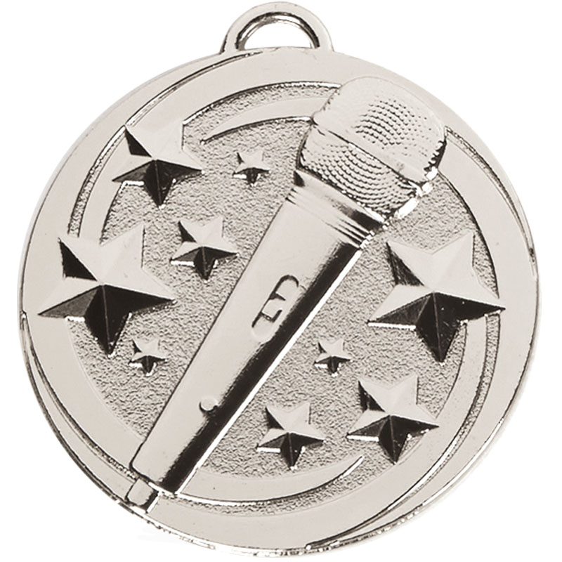 Silver Microphone Star Music Target Medal