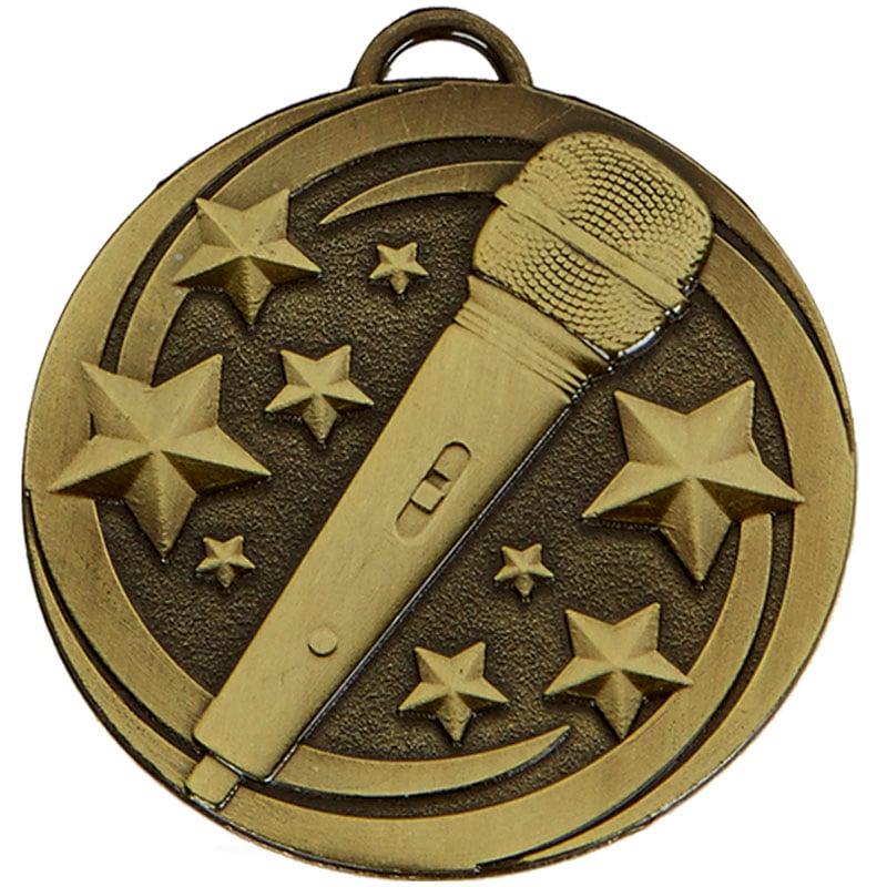 50mm Bronze Microphone Star Music Target Medal