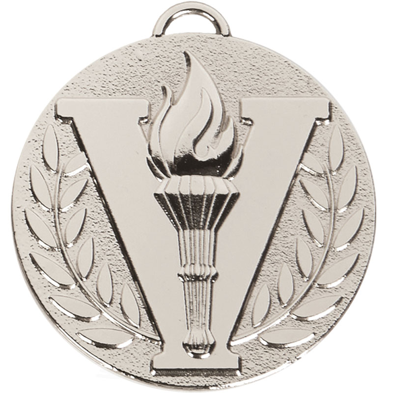 50mm Silver Victory Torch Target Medal