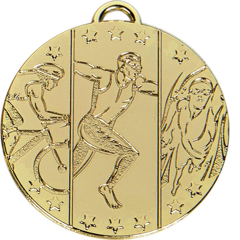 Gold Triathlon Running Target Medal