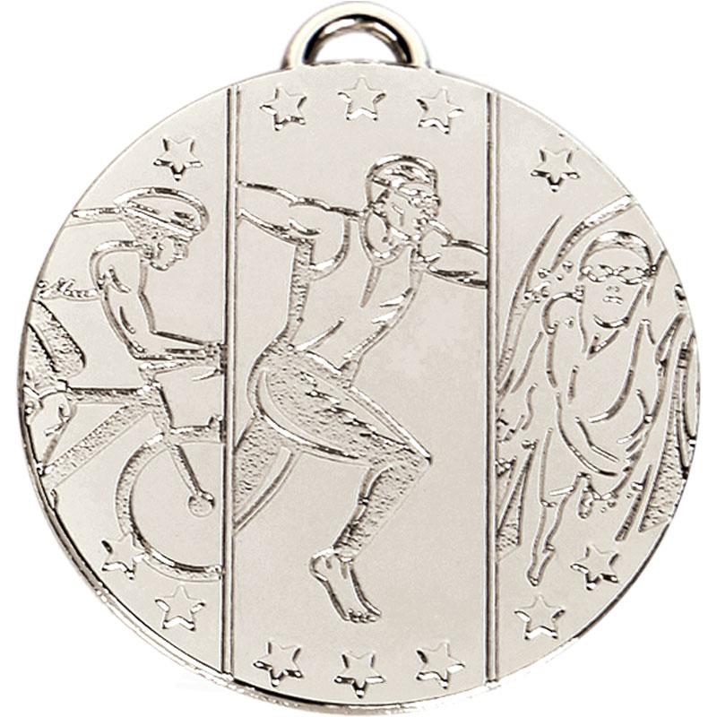50mm Silver Triathlon Running Target Medal