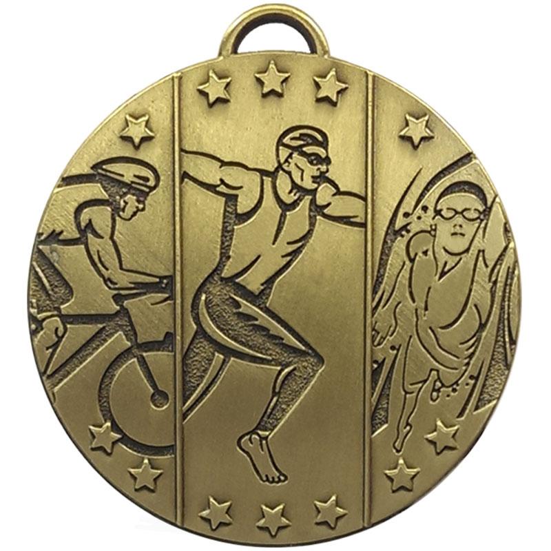 Bronze Triathlon Running Target Medal