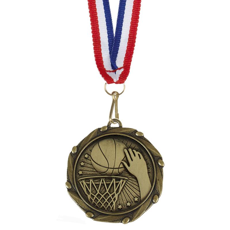 45mm Bronze Slam Dunk Basketball Combo Medal