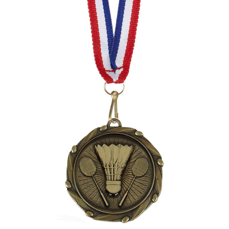 45mm Bronze Crossed Rackets & Shuttlecock Badminton Combo Medal