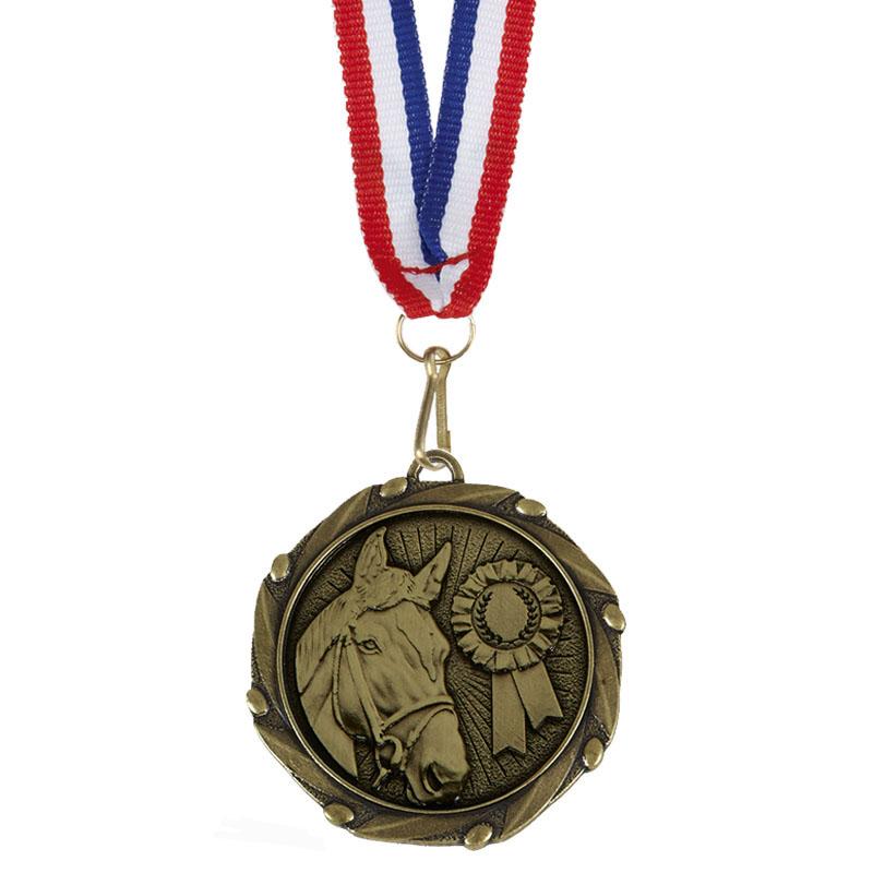 45mm Bronze Horse Head & Rosette Horse Riding Combo Medal