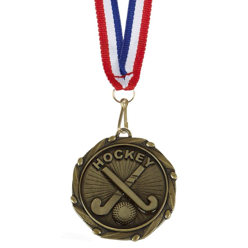 45mm Bronze Crossed Sticks Hockey Combo Medal
