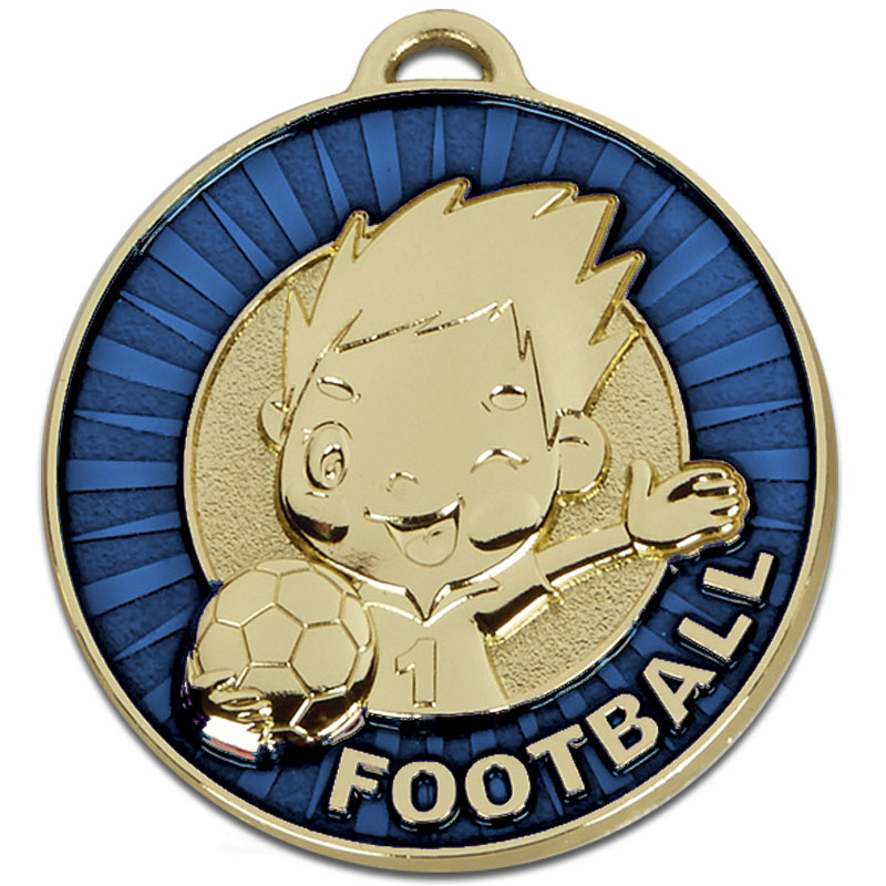 50mm Happy Player Blue Football Kidz Medal