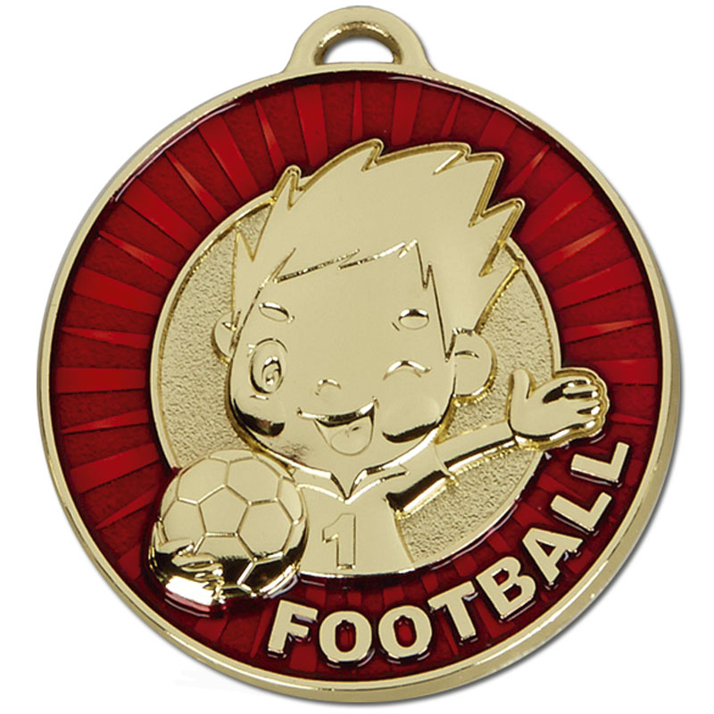 50mm Happy Player Red Football Kidz Medal