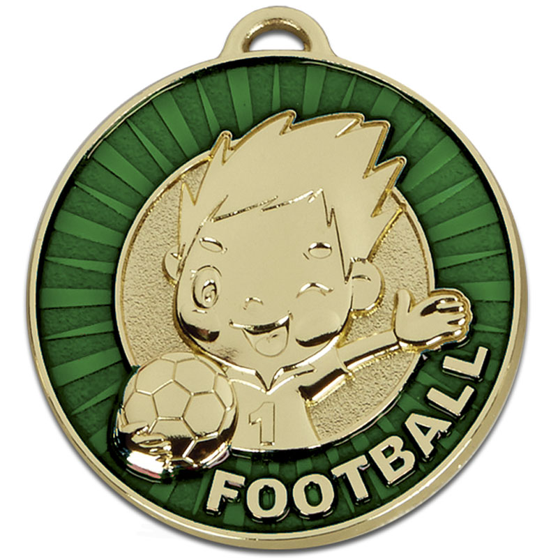 Happy Player Green Football Kidz Medal