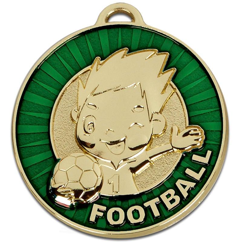 50mm Happy Player Green Football Kidz Medal