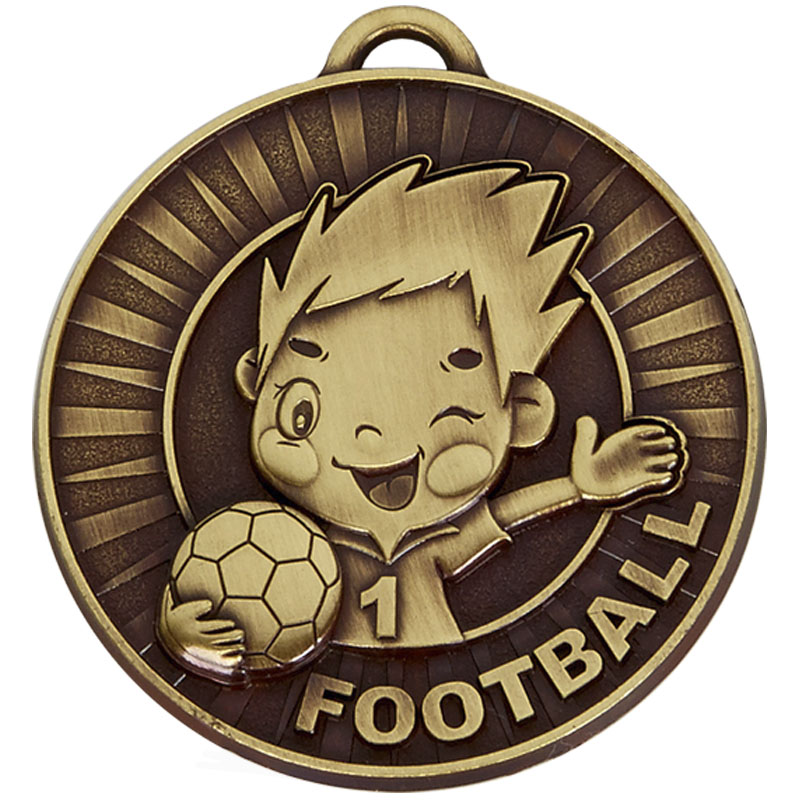 50mm Happy Player Football Kidz Medal