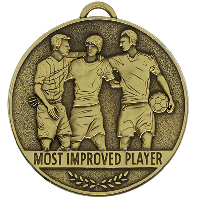 60mm Most Improved Player Football Team Spirit Medal