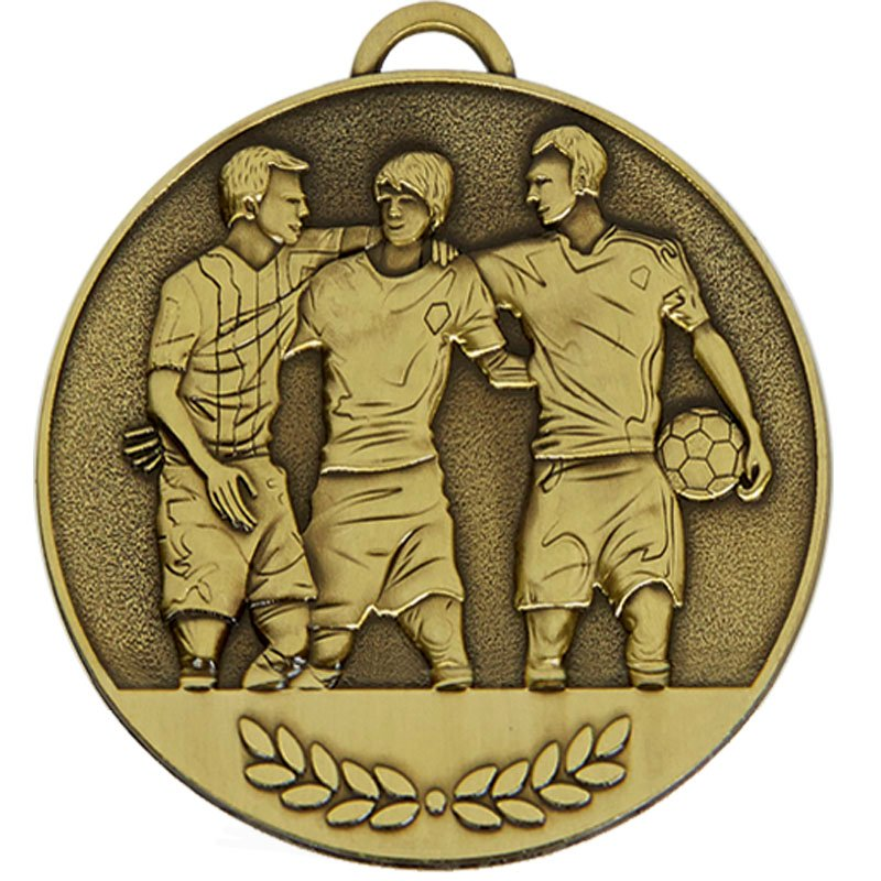 60mm Three Players Football Team Spirit Medal