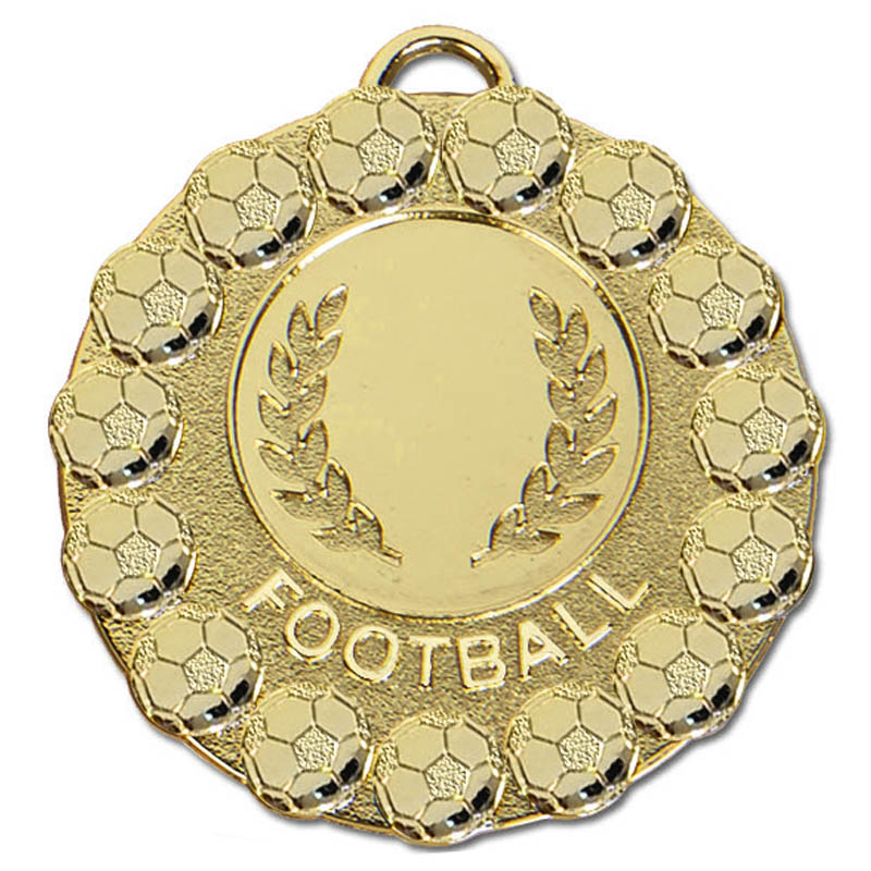 50mm Gold Wreath & Ball Border Football Fiesta Medal