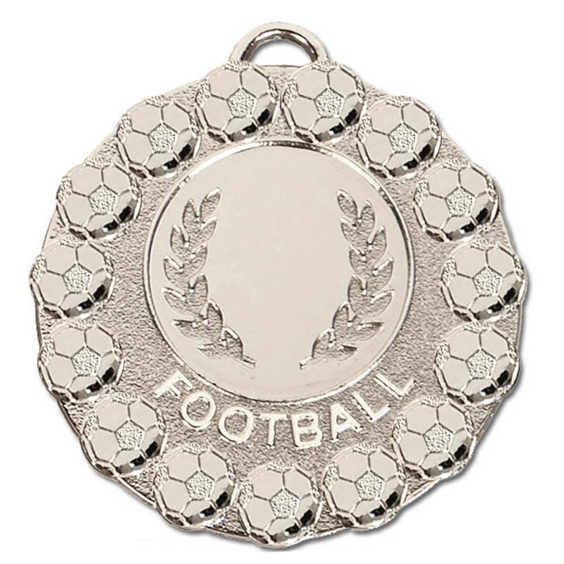 50mm Silver Wreath & Ball Border Football Fiesta Medal