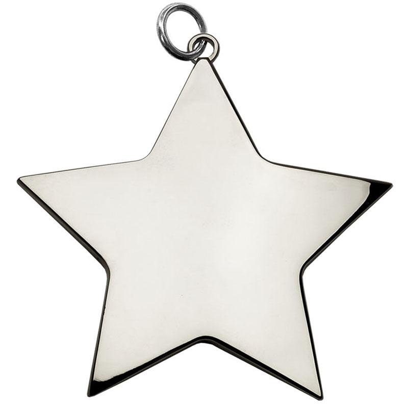 6cm Silver Medium Star Medal