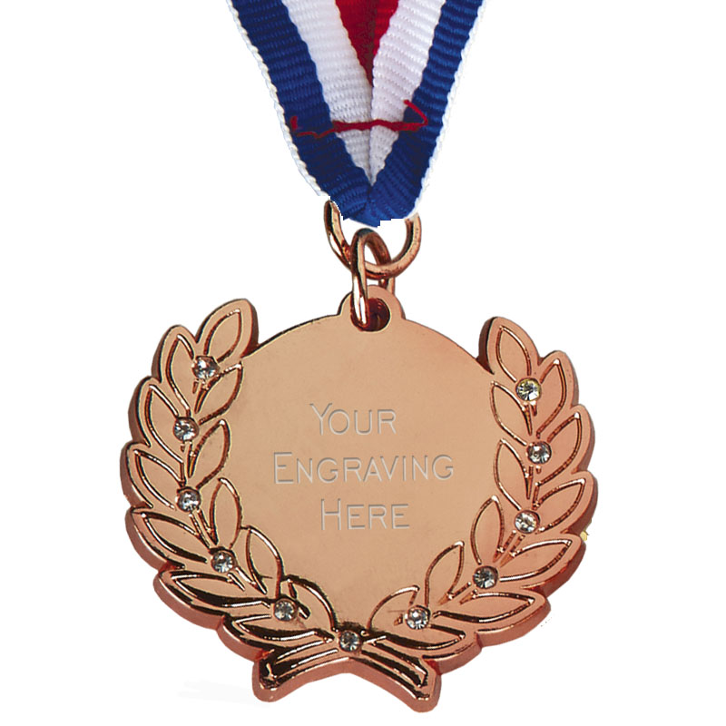 Bronze Wreath and Engraving Centre Diamond Medal
