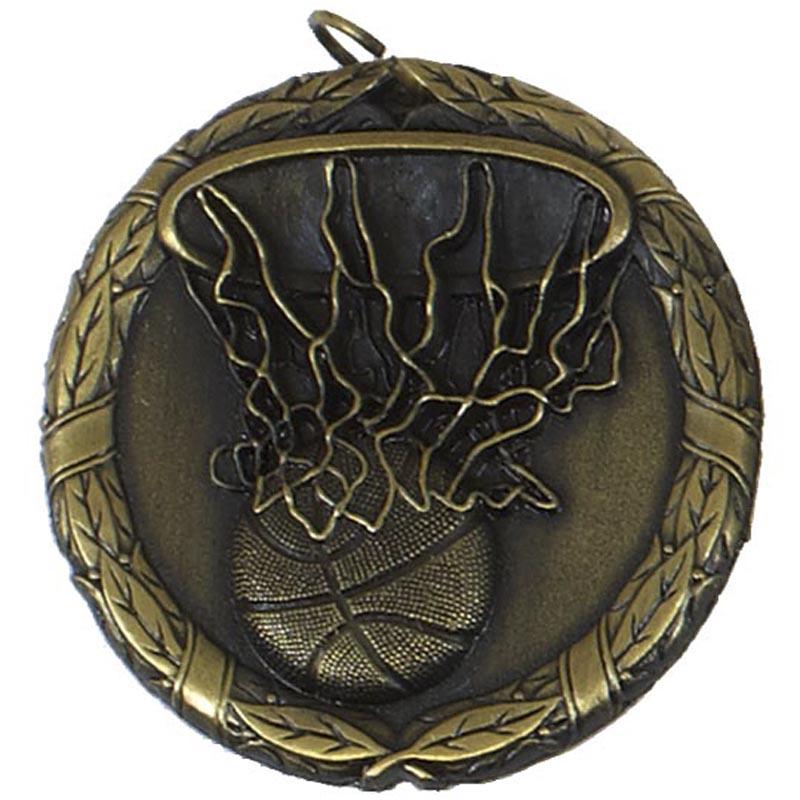50mm Gold Ball & Net Basketball Laurel Medal