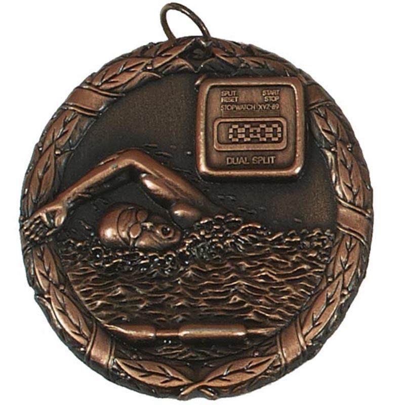 50mm Bronze Swimmer & Timer Swimming Laurel Medal