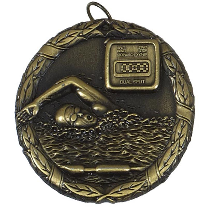 50mm Gold Swimmer & Timer Swimming Laurel Medal
