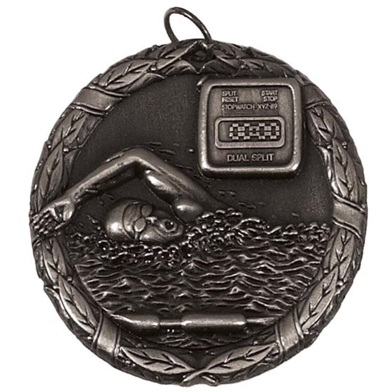 50mm Silver Swimmer & Timer Swimming Laurel Medal