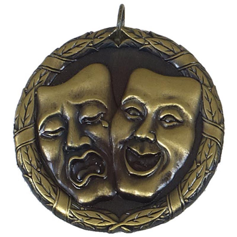 50mm Gold Comedy & Tragedy Drama Laurel Medal